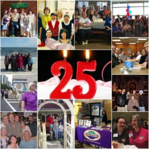 Photos of Networks from the past 25 years with a 25th birthday candle in the middle
